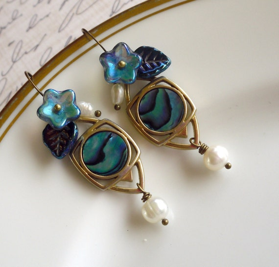 Land and Sea Vintage 70s Abalone Earrings