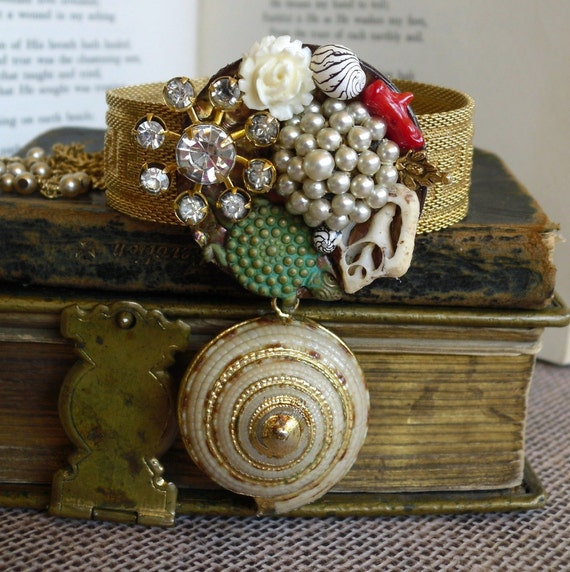 Mermaids Exotic Treasure Vintage Assemblage Cuff Bracelet