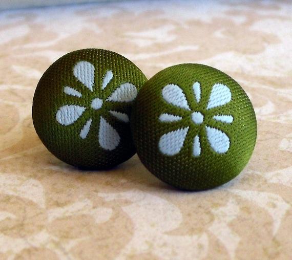 Olive and Aqua Retro Fabric Brocade Button Earrings