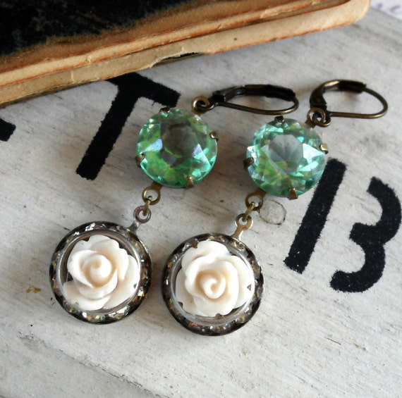 Seafoam and Roses Vintage Assemblage Earrings