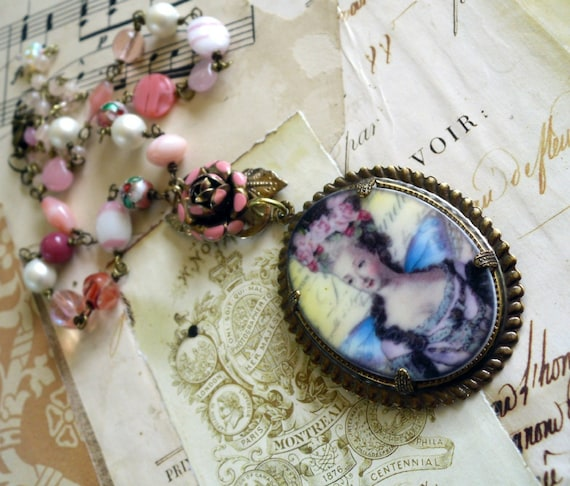 SALE Marie Antoinette in Pink and Pearls Cameo Necklace