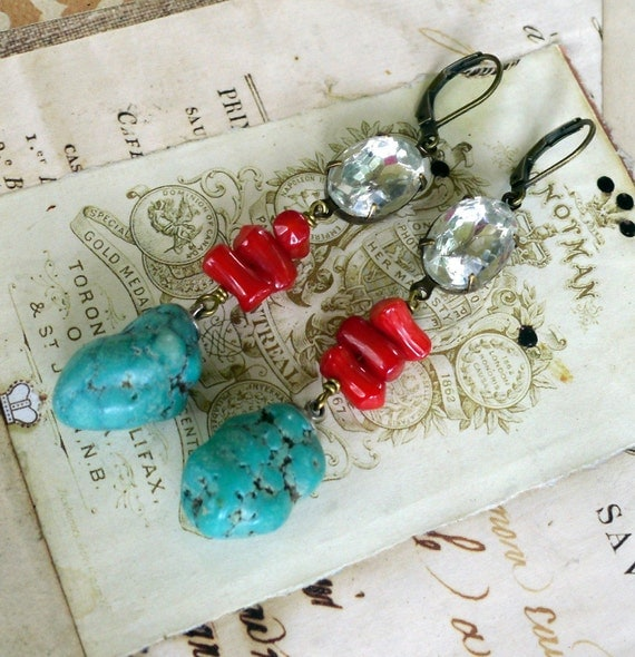 By Land or Sea Vintage Rhinestone Turquoise and Coral Earrings