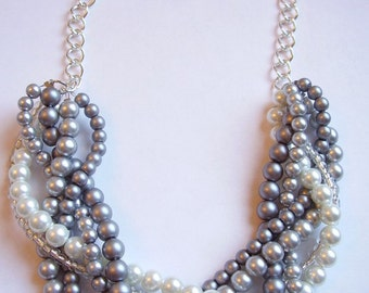 Custom order necklaces braided twisted chunky statement pearl necklace bridesmaid bridal
