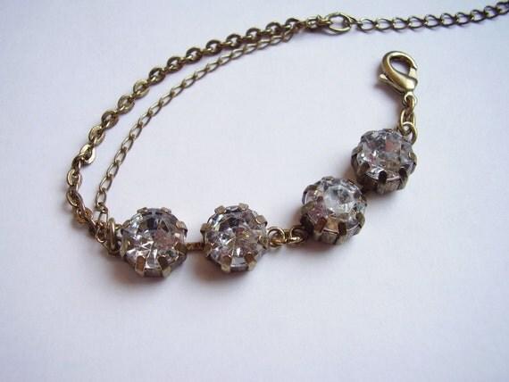 Antique gold large rhinestone chain bracelet
