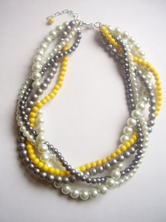 The Noelle Necklace - Pearl, white, gray, silver, yellow braided twisted beaded necklace