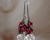 Custom Order Oh So Sexy Tiny Siam Red Dangle Earrings with Swarovksi Red and Clear Crystals in Gunmetal