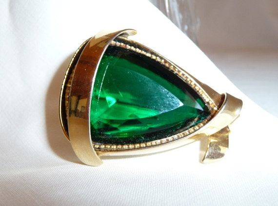 Jewel of the Nile Huge Vintage Emerald Triangle Brooch