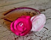 Valentine's Day, Pink flower roses rosette poppies hairband headband  hair clip girls infants toddlers baby