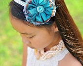 teal turquoise flower hairband headband hair clip girls infants toddlers baby photo props photography
