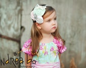 pink cream white green flower vintage headband babies toddlers infants girls photo props photography hairband
