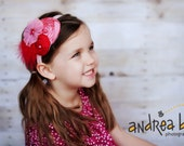 Valentine's Day, Red, pink, flower, feathers, headband, hair clip for babies, toddlers, little girls, photo prop, photography weddings