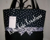 CLEARANCE SALE, X-Large Black and White Polka Dot Diaper Bag/All-PurposeTote with Matching ID Tag, Zipper Closure,  Ready to Ship