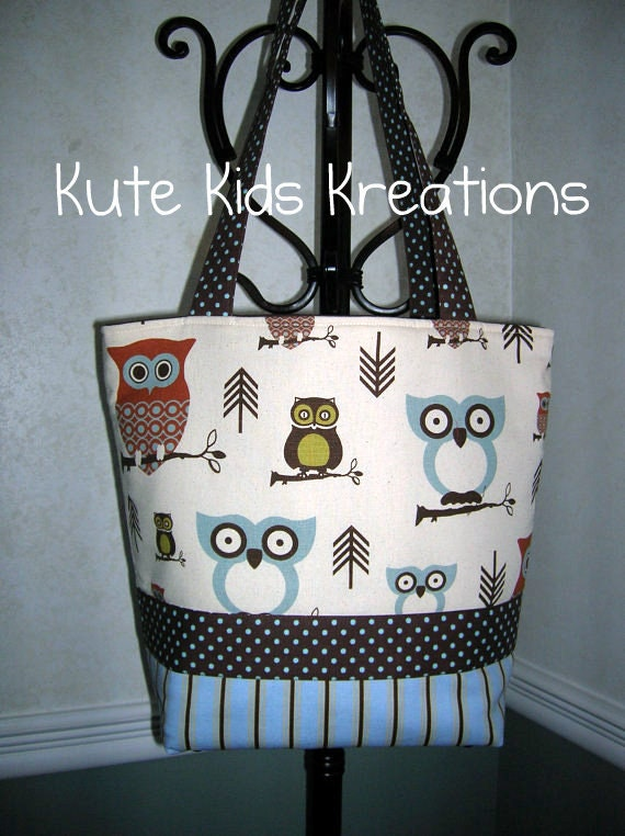 OWL DIAPER BAG/All Purpose Tote, Hootie Owl, Made to Order