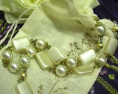 Prayer Beads, Anglican, antique white with brass and gold, vintage