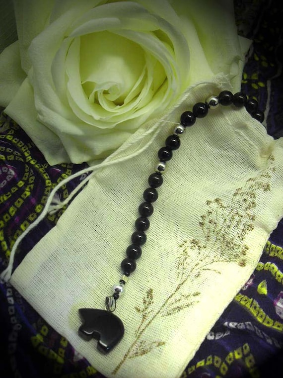 Prayer Beads, Wrist Mala, black onyx, black bear fetish