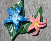 Blue or Pink Polymer Clay Pin/Brooch