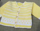 Handknit Yellow and White Bordered Buttoned Children's Sweater 100% Acrylic