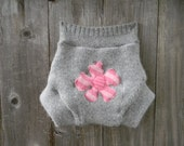 Upcycled Wool Soaker Cover Diaper Cover With Added Doubler Light Gray With Pink Flower Applique LARGE  Kidsgogreen