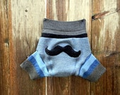 Upcycled Wool Soaker Cover Diaper Cover With Added Doubler Blue Gray Black With Mustache  Applique  SMALL 3-6M Kidsgogreen
