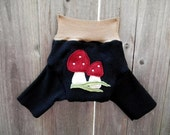 Upcycled Cashmere Shorties Soaker Cover Diaper Cover With Added Doubler Black/Beige With Mushrooms Applique SMALL  3-6M Kidsgogreen