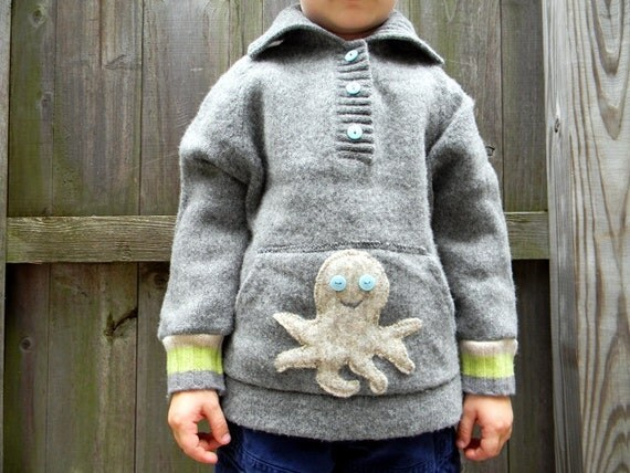 Upcycled Wool Cardigan Sweater Happy Octopus In Gray 3T-4T Kidsgogreen
