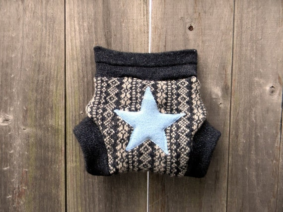 Upcycled Wool Soaker Cover Diaper Cover With Added Doubler Black/White Pattern With Blue Star Applique SMALL Kidsgogreen