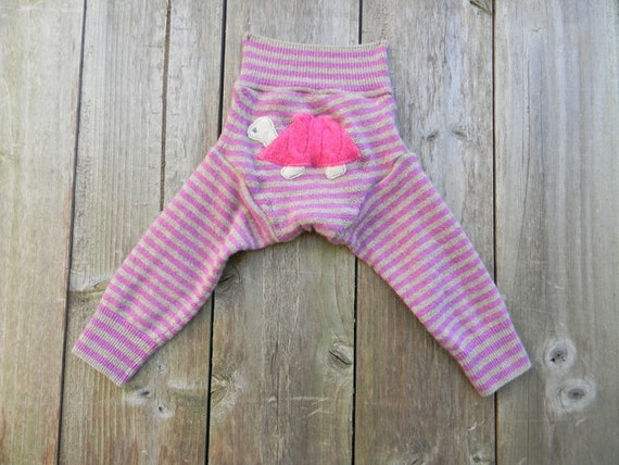 Upcycled Wool/Cashmere Longies Soaker Cover Diaper Cover With Added Doubler Pink/Gray Stripes With Turtle Applique SMALL 3-6M  Kidsgogreen