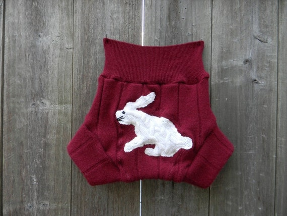 Upcycled Cashmere  Soaker Cover Diaper Cover With Added Doubler Burgundy With Fuzzy Bunny  Applique  LARGE 12-24M Kidsgogreen