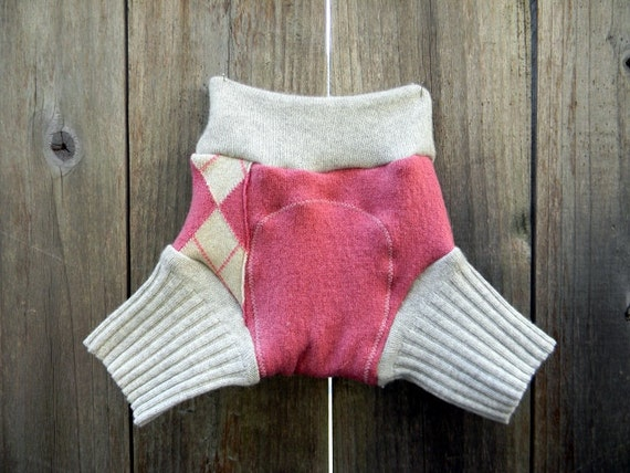 Upcycled Wool/Cashmere Soaker Cover Diaper Cover With Added Doubler Pink/Light Gray  SMALL 3-6M Kidsgogreen