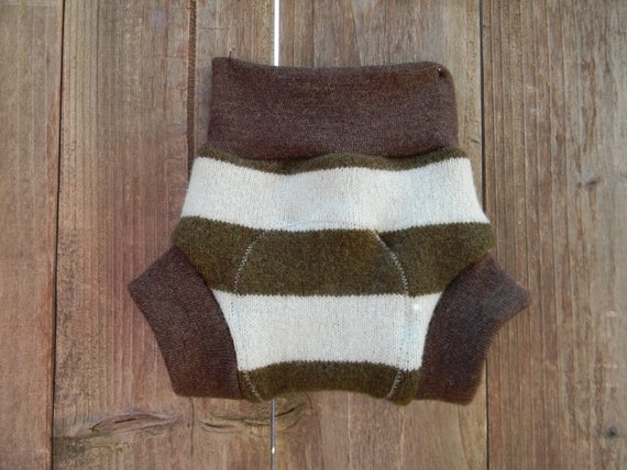 Upcycled Wool Soaker Cover Diaper Cover With Added Doubler Aqua Blue/Brown Stripes  SMALL 3-6M Kidsgogreen