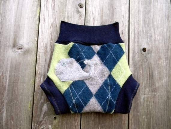 Upcycled Wool Soaker Cover Diaper Cover With Added Doubler Blue/Green/Gray Argyle Pattern With Whale  Applique LARGE 12-24M  Kidsgogreen