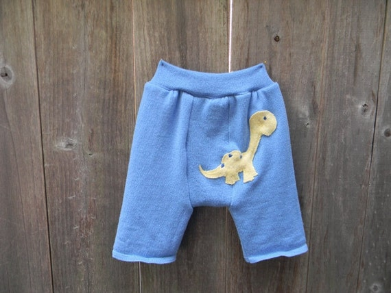 Upcycled Wool Shorties Soaker Cover Diaper Cover With Added Doubler Blue With Dinosaurus Applique SMALL 3-9M  Kidsgogreen