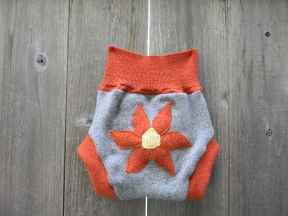 Upcycled Cashmere/Wool  Soaker Cover Diaper Cover With Added Doubler Light Gray/Orange With Flower Applique MEDIUM 6-12M Kidsgogreen