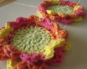 Crocheted Coasters - Set of 2 - Multicolor Flowers