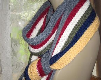 Crocheted Fashion Scarf - Multicolor Stripes