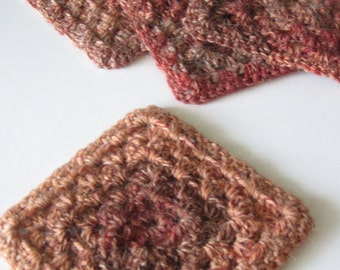 Crocheted Coasters - Set of 4 - Brown/Multicolor