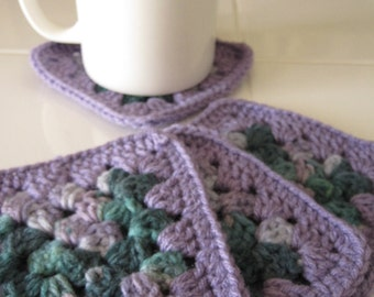 Crocheted Coasters - Set of 4 - Multicolor Purple/Teal