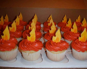 Fire/Flame Fondant Cupcake or Cookie Toppers- Edible- 1 DOZEN