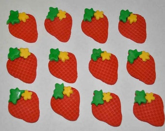 Strawberry Fondant Toppers for Cakes, Cupcakes, Cookies or Brownies- Edible- 1 DOZEN
