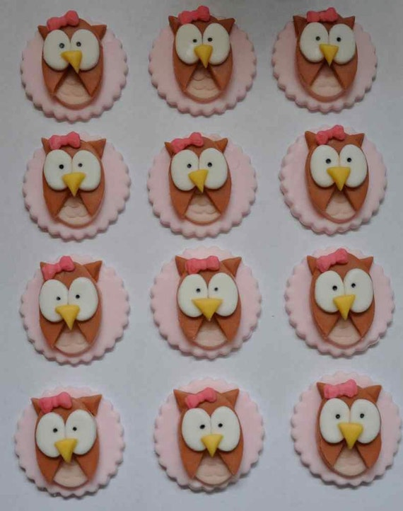 Girlie Pink Owls Fondant Toppers for Cupcakes, Cake or Cookies- Edible- 1 DOZEN