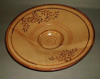 Shino Bowl w/ Leaf Design