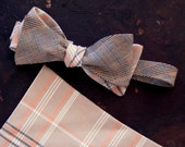 Brown and Orange Plaid Freestyle Bow Tie