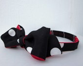 Red and Black with White Polka-Dot Freestyle Bow Tie