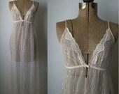 vintage 1970s Peach Dreams sheer floor length nightgown