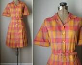vintage 1960s day dress // vintage 60s Pumpkin Patch plaid collared shirt dress NOS