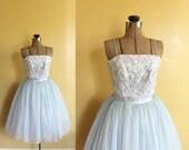R E S E R V E D ll vintage 1950s party dress ll vintage 50s light blue cupcake party dress