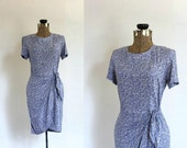 vintage wrap dress ll 1940s style wrap dress light blue floral print ll Centaurea Montana