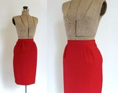 red pencil skirt vintage 1980s red fitted pencil wiggle skirt / cherry bomb
