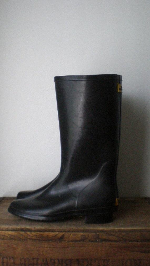 Vintage Weather Spirits Black Rubber Wellies By Sonnetandbough