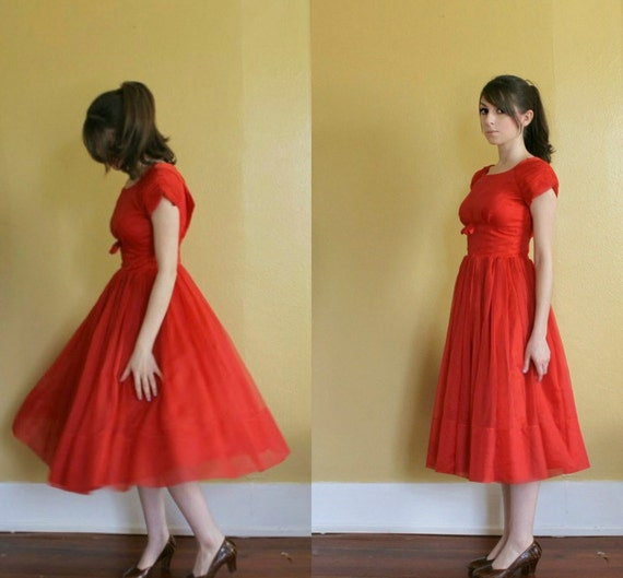 R E S E R V E D / vintage 1950s party dress 50s red short sleeve full skirt cupcake designer party dress with bow